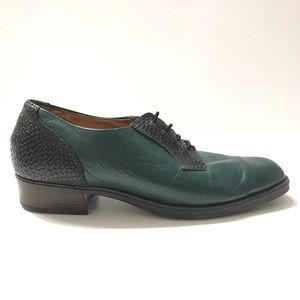 Vintage Santana Canada Green Black Leather Shoes